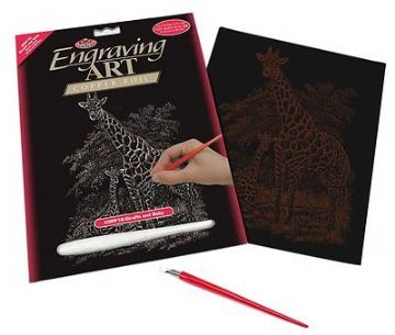 ENGRAVING ART SET - GIRAFFE & BABY (COPPER FOIL) by ROYAL & LANGNICKEL